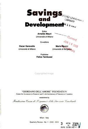 Savings and Development PDF
