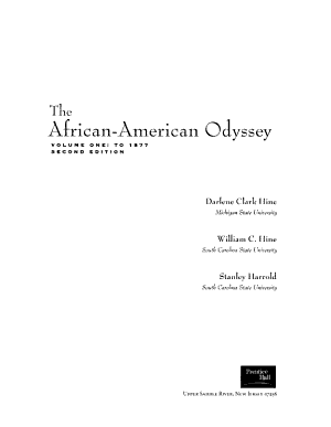 The African-American Odyssey: To 1877