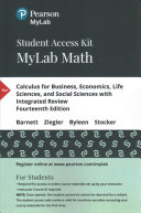 Calculus for Business  Economics  Life Sciences  and Social Sciences With Integrated Review Pearson MyLab Math Access Code PDF