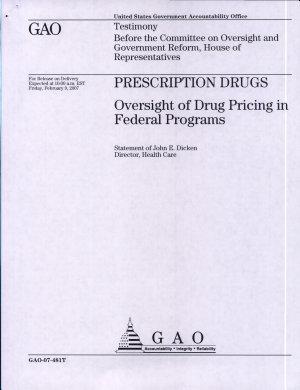 Prescription Drugs  Oversight of Drug Pricing in Federal Programs PDF