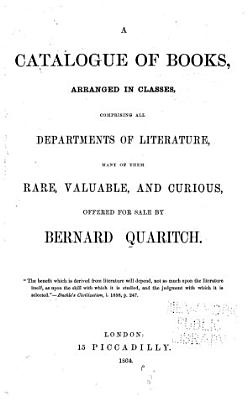 A Catalogue of Books  Arranged in Classes