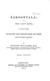 Śakoontalá: Or, The Lost Ring; an Indian Drama