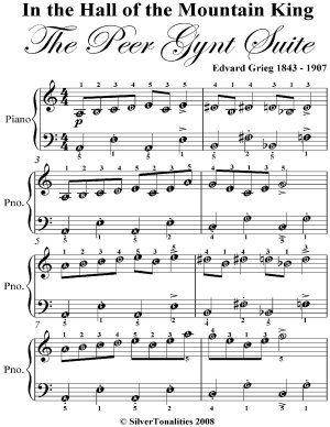 In the Hall of the Mountain King Peer Gynt Suite Easy Piano Sheet Music PDF