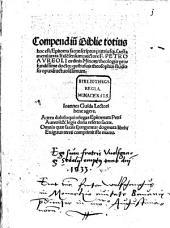 Compendium Biblie totius, hoc est, Epitoma sacrae scripture, utriusque testamenti iuxta litteralem sensum