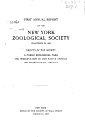 Annual Report of the New York Zoological Society: Volume 1