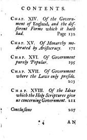 An Essay Upon Civil Government: Wherein is Set Forth, the Necessity, Origine, Rights, Boundaries, and Different Forms of Sovereignty: With Observations on the Ancient Government of Rome and England. According to the Principles of the Late Archbishop of Cambray. Translated from the French