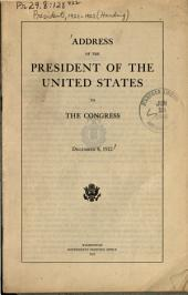 Address of the President of the United States to the Congress, December 8, 1922