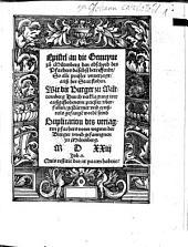 Epistel an die Gemeyne zu Miltenberg den abschyed des Pfarhers daselbst betreffendt, So alle priester vnuerjagt, auß der Stat flohen