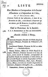 Liste des membres et correspondants de la société d'émulation et d'agriculture de l'ain au 1er décembre 1816
