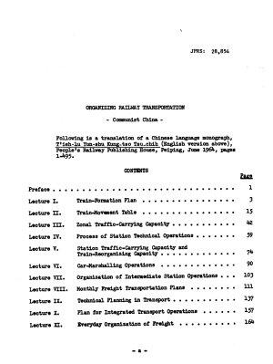 Organizing Railway Transportation