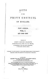 Acts of the Privy Council of England: New Ser