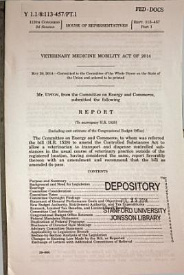 Veterinary Medicine Mobility Act of 2014 PDF