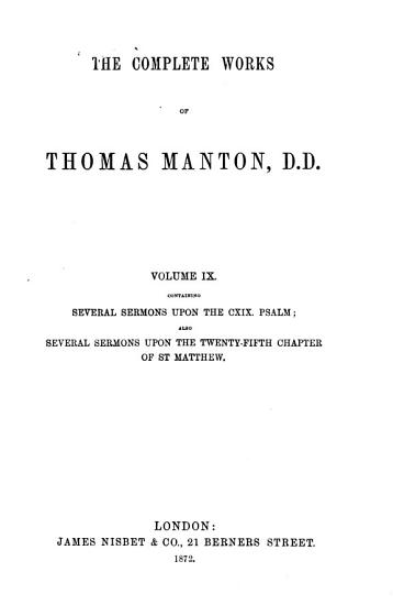 The Complete Works of Thomas Manton  D D  PDF