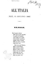 All'Italia nel 6 giugno 1861 elegia in omaggio al re ed al parlamento italiano
