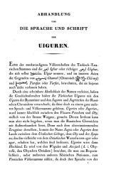 Abhandlungen über die Sprache und Schrift der Uiguren