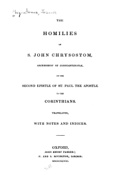 The Homilies of S. John Chrysostom on the Second Epistle of St. Paul the Apostle to the Corinthians
