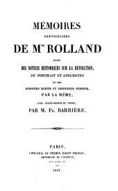 Mémoires particuliers de M. Rolland