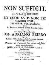 Non sufficit, hoc est disputatio iuridica de eo quod satis non est negotio civile, ubi adest, sustinendo
