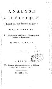 Analyse algébrique: faisant suite aux Eléments d'algèbre