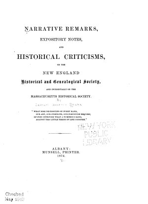 Narrative Remarks  Expository Notes  and Historical Criticisms