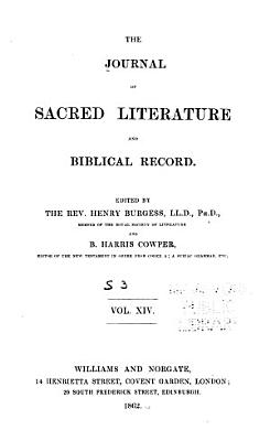 The Journal of Sacred Literature and Biblical Record PDF