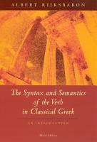 The Syntax and Semantics of the Verb in Classical Greek PDF