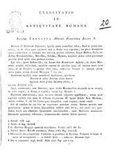 Exercitatio in antiquitate romana Iosephus Vernazza Albensis Pompeianus Lectori S