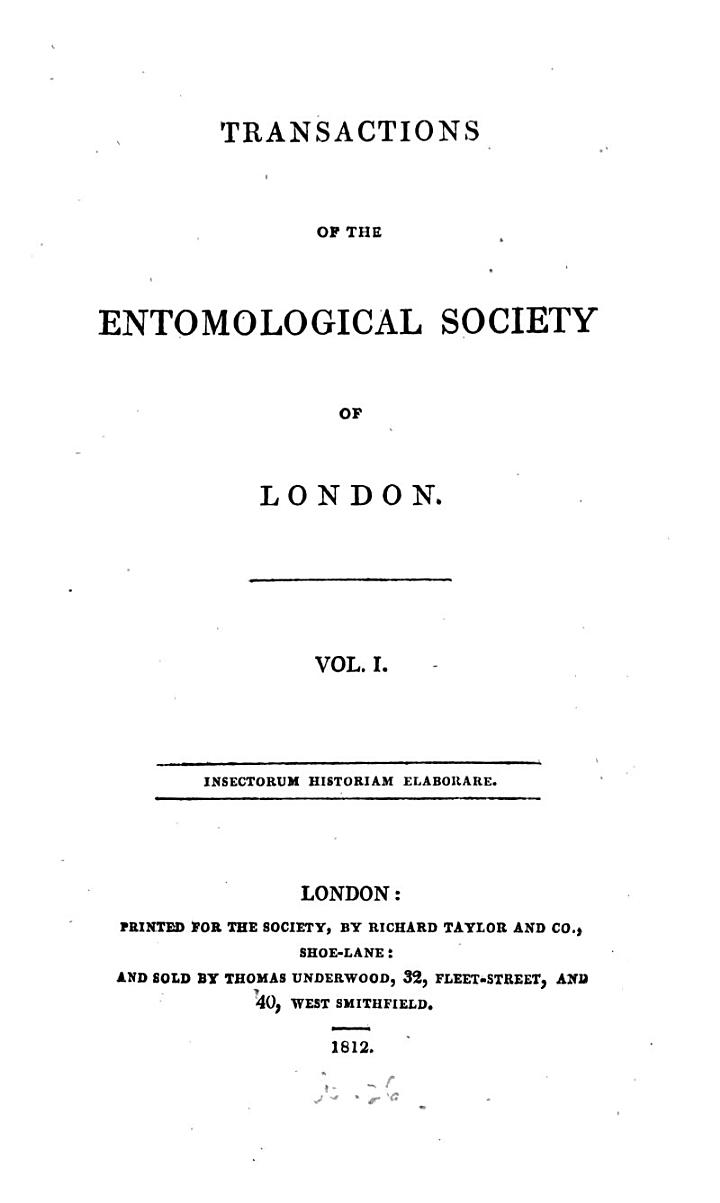 Transactions of the Entomological Society of London