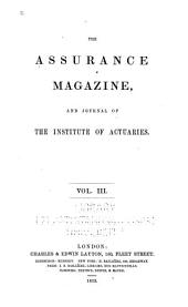 Journal of the Institute of Actuaries: Volume 3