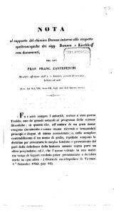 Nota al rapporto del chimico Dumas intorno alle scoperte spettroscopiche dei sigg. Bunsen e Kirchhoff: con documenti