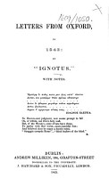 Letters from Oxford  in 1843  by    Ignotus     With notes PDF