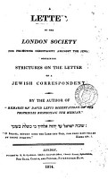 A Letter to the London Society for Promoting Christianity Amongst the Jews PDF