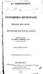 An Abridgement Of Ainsworth S Dictionary English And Latin Designed For The Use Of Schools Book PDF