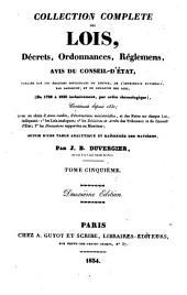 Collection complète des lois, décrets d'intérêt général, traités internationaux, arrêtés, circulaires, instructions, etc: Volume5
