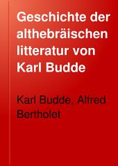 Geschichte der althebräischen litteratur von Karl Budde