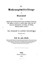 Die Nahrungsmittelfrage in Deutschland: Band 1