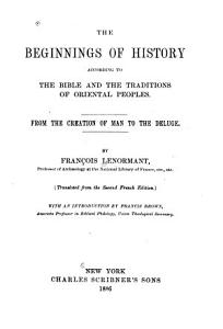 The Beginnings of History According to the Bible and the Traditions of Oriental Peoples PDF