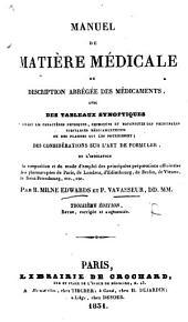Manuel de matière médicale. ... Troisième édition, ... augmentée