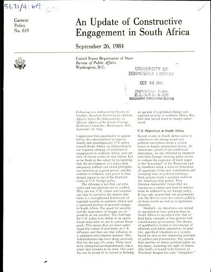 An Update of Constructive Engagement in South Africa PDF
