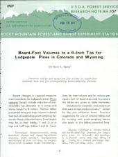 Board-foot volumes to a 6-inch top for lodgepole pines in Colorado and Wyoming