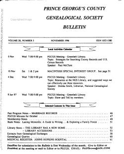 Prince George s County Genealogical Society Bulletin PDF