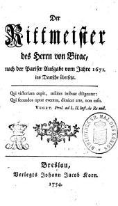 Der Rittmeister des Herrn von Birac: nach der Pariser Ausgabe vom Jahre 1671 ins Deutsche übersetzt