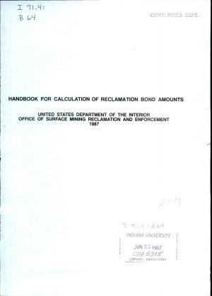 Handbook for Calculation of Reclamation Bond Amounts