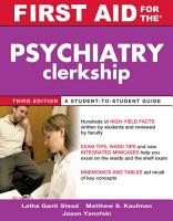 First Aid for the Psychiatry Clerkship  Third Edition PDF