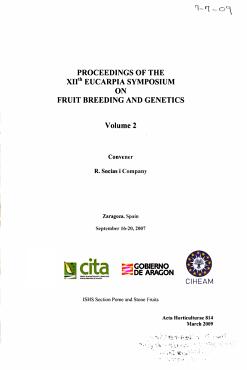 Proceedings of the XIIth Eucarpia Symposium on Fruit Breeding and Genetics PDF