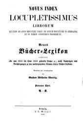 Index locupletissimus librorum qui ... in Germania et in terris confinibus prodierunt. Vollständiges Bücher-Lexicon ... 1750 bis Sachregister (und Schlagwortregister).