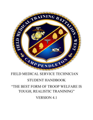 FIELD MEDICAL SERVICE TECHNICIAN STUDENT HANDBOOK VERSION 4 1 With Block 1   2 Student Outlines And Visual Presentations