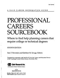 Professional Careers Sourcebook PDF