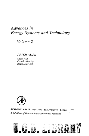 Advances in Energy Systems and Technology PDF