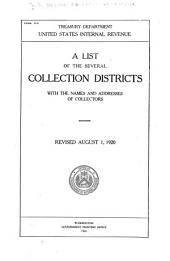 A List of the Several Collection Districts with the Names and Addresses of Collectors ...